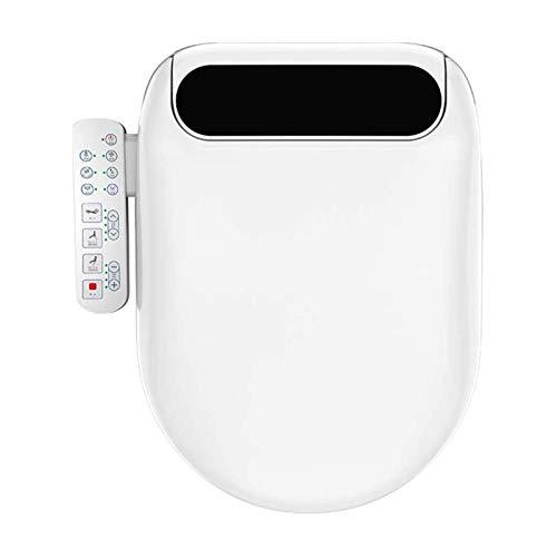 JJSFJH Tapa de Asiento Inteligente de Inodoro, bidé eléctrico Alargado de baño, calefacción automática de calefacción Seca Bidé Inteligente para Tapa de Asiento de Inodoro de WC, Control Lateral