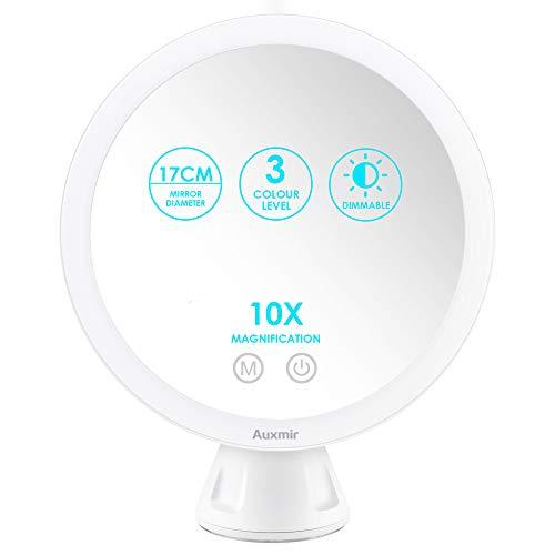 Auxmir Kosmetikspiegel LED Beleuchtet mit 10X Vergrößerung und Saugnapf, Schminkspiegel für Zuhause und Unterwegs, 360° Schwenkbar, 3 Lichtfarben und Dimmbare Helligkeit, Wiederaufladbar, Weiß