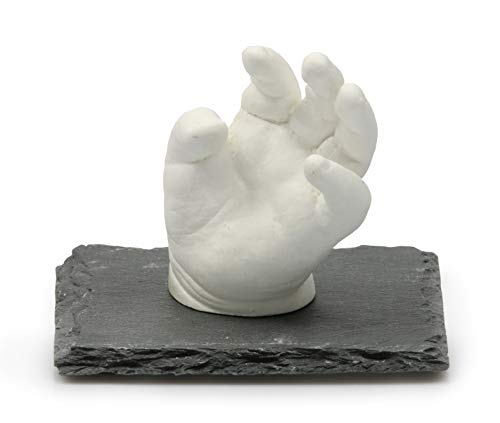 Lucky Hands 3D-Abformset ohne Zubehör | Handabdruck, Gipsabdruck (mit Schiefersockel 10 x 10 cm)