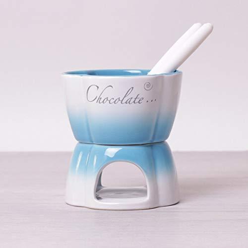 Fondue de cerámica de chocolate Set de fondue de queso, chocolate, regalo para velas de té, para 2 personas