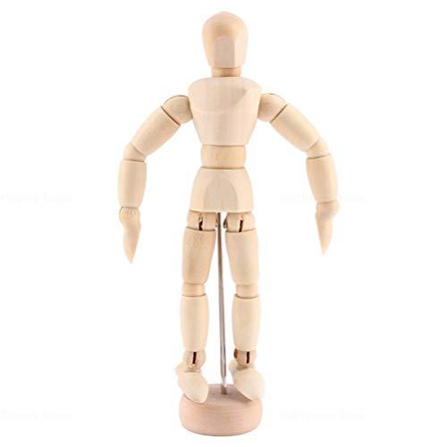 Knowooh Modellpuppe aus Holz Menschliche Gliederpuppe, Posierbare Modellpuppe mit Ständer Zeichenpuppe Holzfigur Zeichnen Hölzerne Künstlerpuppe für Kunst(14CM)