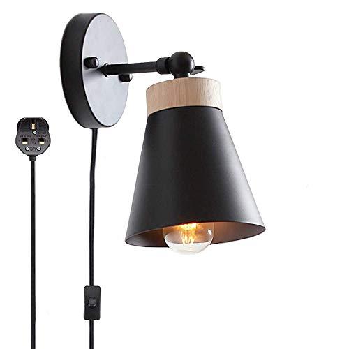 Met poedercoating van staal, de wandlamp van hout met praktisch zwart, kabel en schakelaar Gcvcxfgdsgsd