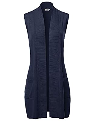 A2Y Open Front Long Sleeveless Draped Side Pockets Vest Knit Sweater Navy M from