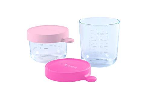 Béaba - 2 babyvoedingsportions/koffers met portiedozen/inmaakpotten/set van 3 voorraaddozen (allemaal van glas) Pink/Dunkelrosa