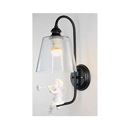 Sconce ljus fågel harts ljus glas modern minimalistisk vardagsrum sovrum sängteknik lampa LED nordisk stil vägglampa, svart ängel utan ljuskälla