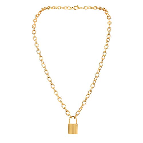 YL Padlock Necklace 18K Gold Chain Lock Punk Pendant Necklace for Women