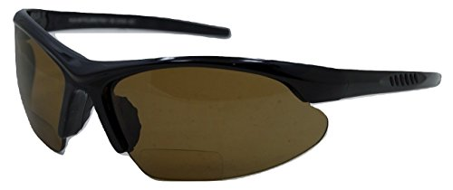 In Style Eyes Blazin Wrap Polarized Nearly Invisible Line Bifocal Sunglasses Brown 3.00