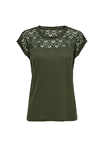 ONLY NOS Damen T-Shirt onlNICOLE S/S Mix TOP NOOS, Grün (Crocodile), 36 (Herstellergröße: S)