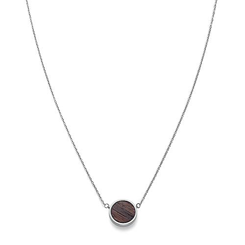 KERBHOLZ Holzschmuck – Geometrics Collection Circle Necklace Damen Halskette mit Anhänger aus Naturholz, silber, größenverstellbar (Kettenlänge 38 + 5 cm)