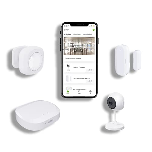 JLAZGJ Home Security System Alarm Home Security kit 4-Piece Alarm System Home Wireless, Camera Window Door Alarms, 24 Hours Professional Home Safeguard, Support 2.4Ghz WiFi(4 Pieces)…