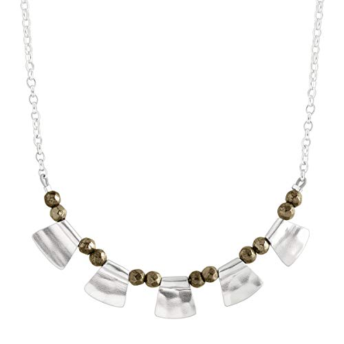 Silpada 'Patterned Pyrite' Natural Pyrite Beaded Necklace in Sterling Silver