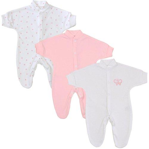 Babyprem Frühchen Baby Mädchen Kleidung 3 Schlafanzüge Strampler Rosa Tupfen P3