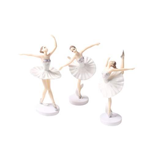 Amosfun 3 Stück Ballerina Mädchen Ballett Tänzerin Statue Figuren Ornamente Kuchen Topper Geburtstagsfeier Begünstigt Geschenke für Tänzer