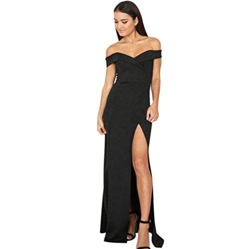 Amlaiworld Damen Luxuriös Sommer Frühling trägerlos lang Kleid elegant Geteilter Abendkleider...