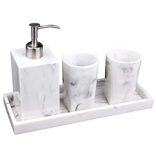 Cabilock - Set di accessori da bagno con effetto marmo, 4 pezzi, con dispenser di sapone incluso, 2 tazze in resina, set da bagno per camera d'hotel