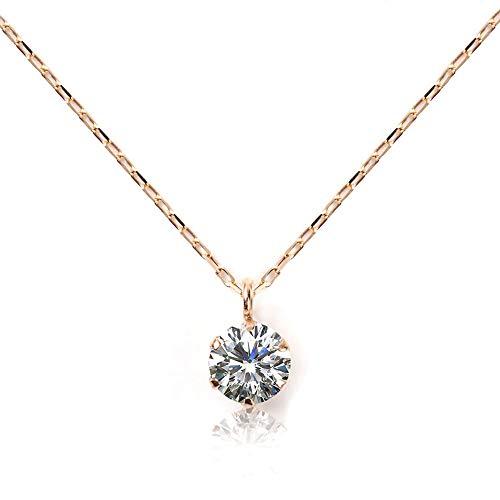 ネックレス レディース ダイヤモンド 0.08ct GINGER掲載 PLUSTER 一粒 K10 ピンクゴールド チェーン 40cm [ギフトボックスセット]