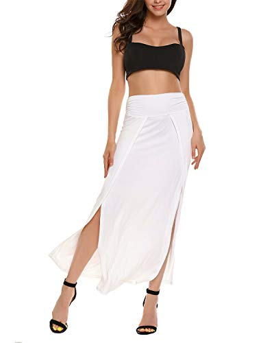 VONDA Damen Lange Rock Hohe Taille Sommerrock Slim Fit Maxirock Seiten Schlitz Kleid Weiß 2XL