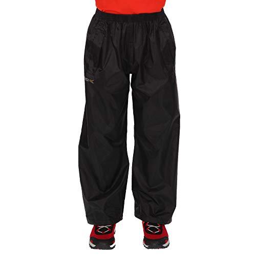 Regatta Pantalones para niños Stormbreak Impermeables con Costuras Selladas Overtrousers, Infantil, Negro, 7-8 años