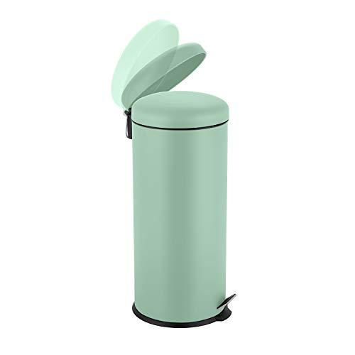 Ribelli Mülleimer aus Edelstahl - Mülltrennung Treteimer Abfalleimer Müllbehälter Papierkorb Mülltonne, rund, 30 Liter mit Inneneimer - Soft Closing (Mint)