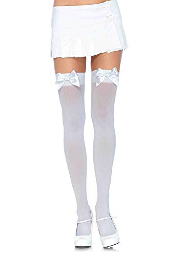 Leg Avenue Women's Satin Bow Accent Thigh Highs, White