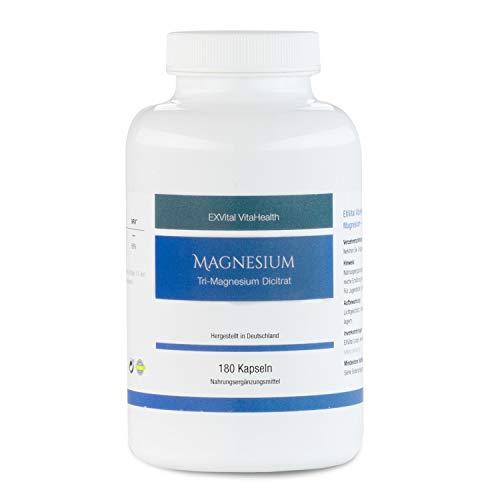 Tri-Magnesium Dicitrat- 2010mg Magnesiumcitrat, 322mg elementares Magnesium pro Tagesdosis von EXVital. Hoch konzentriert, 180 Kapseln, Premiumqualität, kein Magnesiumstearat, vegan, 1er Pack (156g)