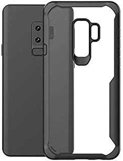 Plus Bumper Case with Clear Back Hard Panel Protective Case Cover for Samsung Galaxy S9 Plus (Black)