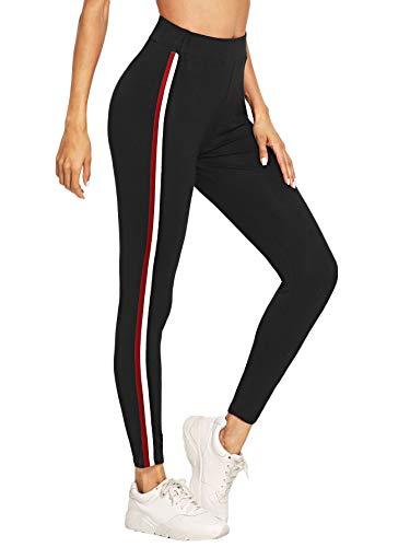 DIDK Damen Leggings Kontrast Fitnesshose Hohe Taille Yogahose mit Kordelzug und Streifen Schwarz-rot S