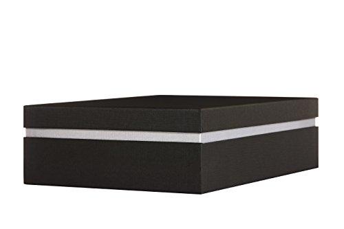 Ritter Design   Premium Aufbewahrungsbox/Geschenkbox/Dokumentenbox mit Deckel   kaschiert durch Bezugsstoff   passend für DIN A4   gefertigt in Deutscher Manufakturarbeit   schwarz/grau