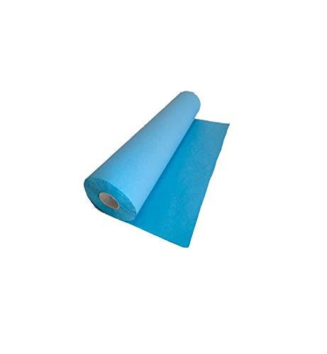 Rollo de Papel camilla ECOLÓGICO, color AZUL. Caja con 6 rollos. Medidas: 0'59 x 75 metros, sin precorte, 1'6 Kg. Oblite