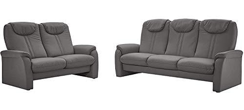 Cavadore Sitzgruppe Canta / 3-Sitzer Sofa mit Bettfunktion und 2-Sitzer Sofa mit Relaxfunktion / 3er Sofa: 222 x 108 x 90, 2er Sofa: 161 x 108 x 90 / Lederoptik Grau