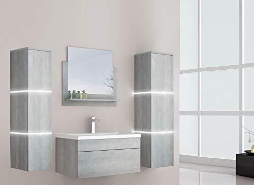 Home Deluxe - Badmöbel-Set - Wangerooge Grau - inkl. Waschbecken und komplettem Zubehör - Verschiedene Größen (Large)