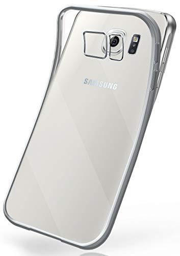 moex Transparente Silikonhülle im Chrome-Style kompatibel mit Samsung Galaxy S6   Flexibler Schutz mit Hochglanz Metallic Rahmen, Silber