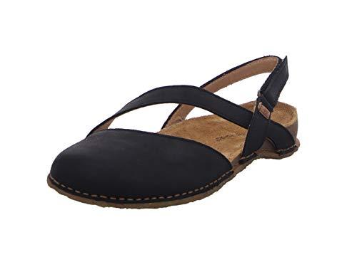 El Naturalista Mujer Sandalia con Tiras PANGLAO, señora Sandalias,Sandalia,Zapato de Verano,cómoda,Plana,Negro (Black /),39 EU / 6 UK