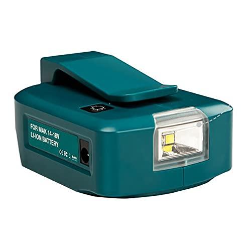OocciShopp Adaptador de luz LED con batería de Litio MT45 de 14,4 V / 18 V, Puerto USB Doble con Foco de luz LED, Linterna Exterior para baterías Makita