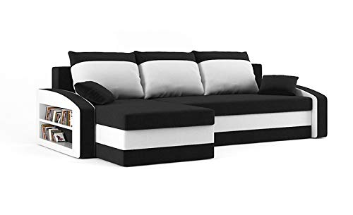 Sofini Ecksofa Hewlet mit Regal und Schlaffunktion! Best ECKSOFA! Eckcouch mit Bettkasten! (Haiti 17+ Haiti 0- Regal Links)