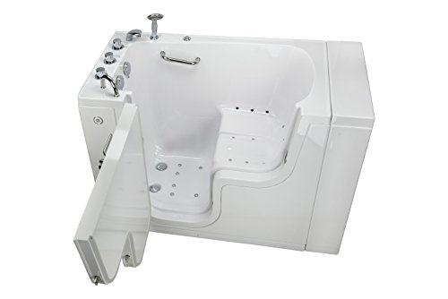 Ellas Bubbles OLA3252A-L-h Transfer32 Air Massage and Heated Seat Walk-In Bathtub with Left Outward Swing Door, Thermostatic Faucet, 2' Dual Drain, White