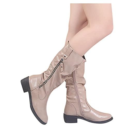 Padaleks Botas para mujer altas hasta la rodilla con hebilla correa apilada tacón bajo botines con cremallera lateral y puntera redonda
