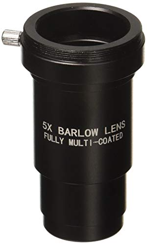 1.25 Inch 5X Fully Blackened Metal Barlow Lens/T Adapter for Telescopes - Accept 1.25inch Filters-Also Can Be Used for Astronomical Photography - Coated