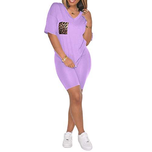 Womens Summer Two Piece Shorts Set Leopard Pocket V-Neck T-Shirt Top Bodycon Pants Tracksuit Outfits (Purple,Medium)