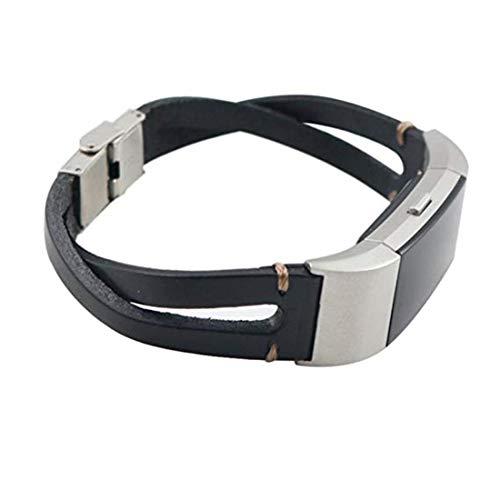 SUNEVEN - Correa de piel para Fitbit Charge 2, correa de muñeca ajustable clásica de repuesto para Fitbit Charge 2 Fitness accesorios con conectores de metal, color negro
