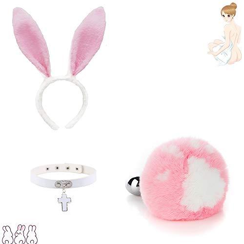 Forme de patte de chat rose Lapin Mignon lapin oreille en épingle à cheveux + collier blanc Queue Charms Jeu de rôle Costume Party Masquerade Cosplay Game Peut remplacer la tête en métal (S)