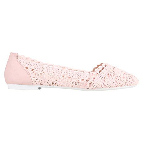 stiefelparadies Damen Ballerinas Spitze Flats Häkeloptik Ballerina Slipper Stoff Flach Sommer Schuhe 136107 Rosa Rosa Weiss 39 Flandell