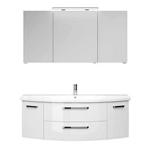 Pelipal FOKUS 4010 Bad Möbel Set (3 teilig) / Weiß Hochglanz, Spiegelschrank, Keramikwaschtisch, Unterschrank, LED Beleuchtung