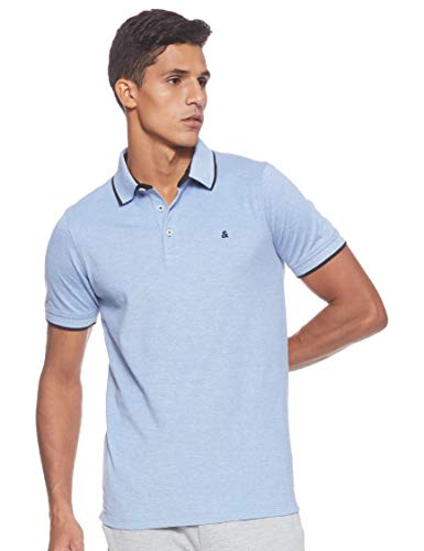 JACK & JONES Jjepaulos Polo SS Noos, Azul (Bright Cobalt Detail: Slim Fit), Large para Hombre
