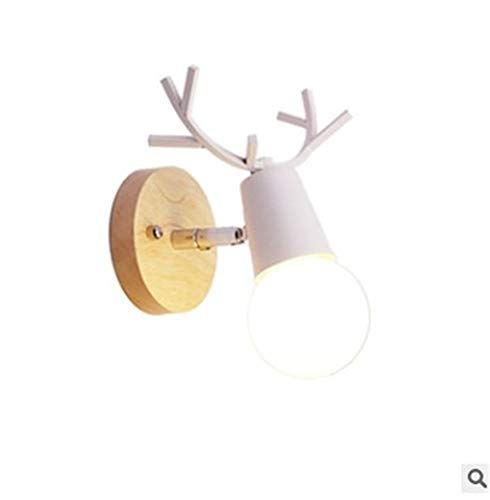 Deer solid wood wall lamp bedroom bedside headlamp mirror headlights decorated LED children's room wall lamp 170 (mm)