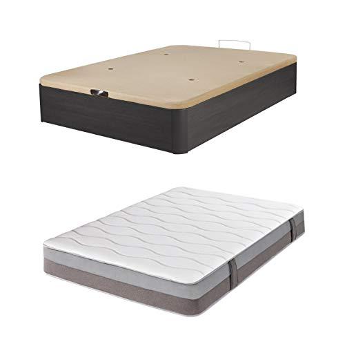 DHOME Pack Canape abatible tapizado 3D Madera + Colchón viscografeno, Reversible Conjunto (90x190 Ceniza, 30mm + Colchón)