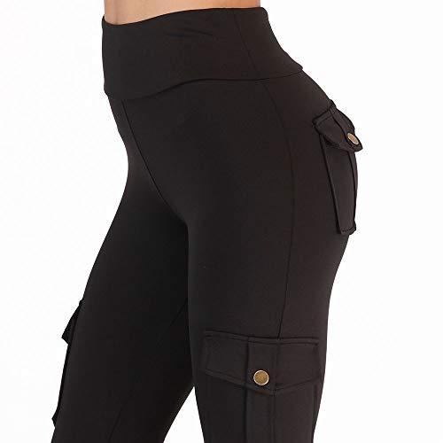DAQAXGAO Pantalones de Yoga de Cintura Alta para Mujer con Bolsillos, Control de la Barriga Pantalones de Entrenamiento de Legging Pantalones estiramientos de Yoga Leggings,Negro,L