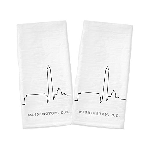 Washington DC City Dish Towels 17x30, Set of 2, 100% Cotton Corner Hanging Loop, Washington Dish Towel, Washington DC Tea Towel, Souvenir Tea Towels, Washington DC Gifts, Washington DC Kitchen Towel