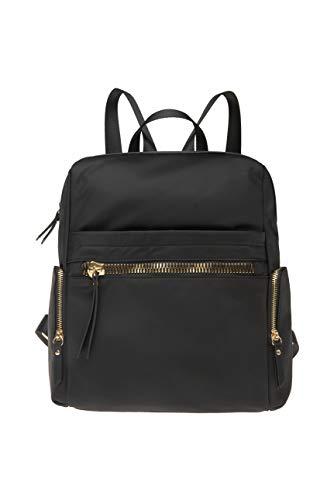 SOCCX Damen Rucksack aus Nylon mit dekorativen Zippern