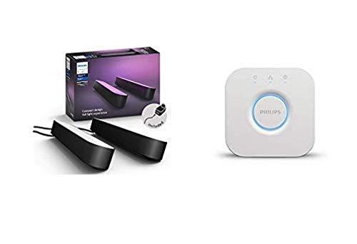 Philips Hue Play Pack White & Color Ambiance X2 6,6 W - Noir et Pont de connexion